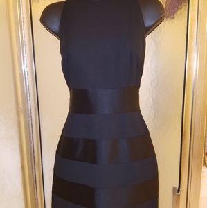 BLACK SHEATH SATIN STRIPE DRESS